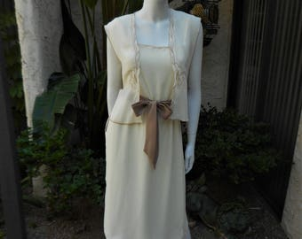 CLEARANCE Vintage 1970's Denise Fashions Beige and Brown Dress with Vest - Size 6
