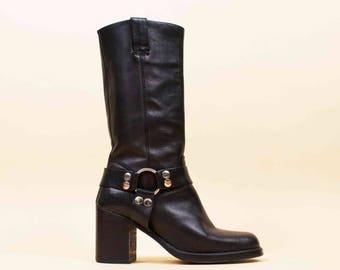 80s 90s Vtg Black Genuine Leather GUESS Harness O Ring ENGINEER Biker Boots / Tall Pull On Chunky Stacked Platform Heel