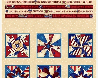 20 % off thru 7/4 LIBERTYVILLE  cotton fabric panel Henry Glass 24 by 44 inches Color Principle, American flag , star 8702p-44
