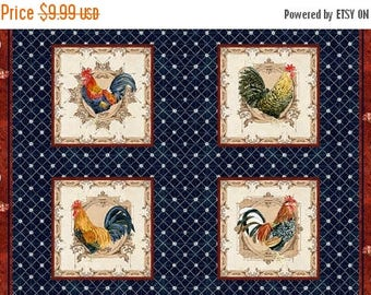 12% off thru July ROOSTERS In the Beginning fabrics cotton panel CHICKENS  in squares on blue-1AJB2