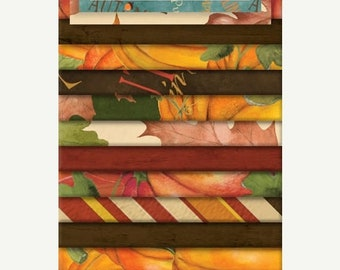 """15% off thru Mar.19th CRYSTALS  """"Jelly Roll"""" Wilmington fabric 24 2.5 inch strips Colors of Fall, Autumn, leaves pumpkins"""