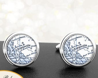 Map Cufflinks Townsville Australia Cuff Links for Groomsmen Groom Fiance Anniversary Wedding Party Fathers Dads Men