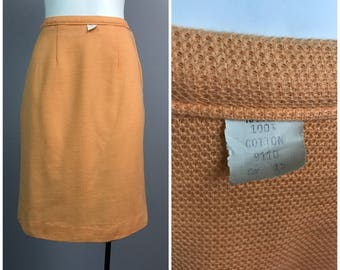 Vintage NOS Deadstock 1950s 1960s Orange High Waist Cotton Pencil Skirt / Women's XS / 50s 60s New Look Rockabilly Unworn