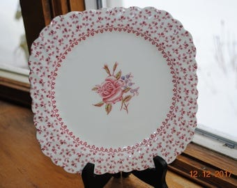 Vintage Johnson Brothers 1 Square Salad Plate in Rose Bouquet Pink Made in England
