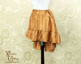 "Steampunk High Low Mini Cecilia Skirt -- Honey Gold Crinkle Taffeta -- Ready to Ship -- Best Fits Up To 45"" Waist"