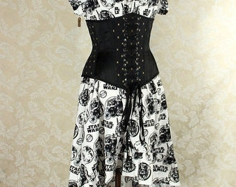 "HALF OFF Cap Sleeved Ragamuffin Dress in Black/White Star Wars Print -- Size M, Fits Bust 36""-40"" -- Ready to Ship"