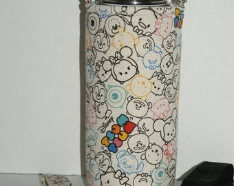 """CHOOSE YOUR SIZE for Made to Order Insulated Hydro Flask Holder with Interchangeble Handle and Strap Made with """"Tsum Tsum - Cotton Linen #2"""""""