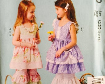 McCall's M7110, Size 2-3-4-5, Children's Dresses, Pants and Necklace Pattern, UNCUT, Ruffles, Pullover Dresses, Ruffles and Lace, Party