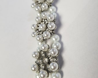 Pearls and crystal 22mm smart watch band