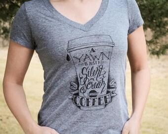 Scream for Coffee V-neck T-shirt