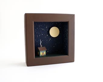 Little Paper House at Night Shadow Box