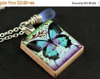 BACK to SCHOOL SALE Butterfly Necklace. Scrabble Tile Necklace. Blue Butterfly Charm Necklace with Blue Teardrop. Handmade Jewelry.