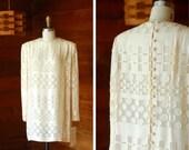 20% off weekend sale / vintage Mark Heister white silk mini dress / size small