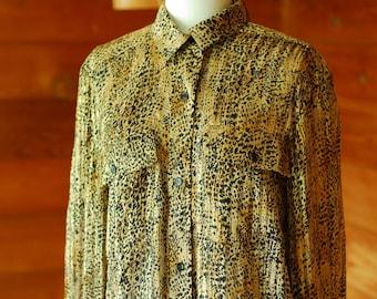 vintage silk leopard print blouse / size medium
