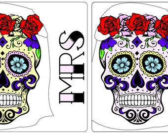 Set of 2 Matching Mrs & Mrs Sugar Skull Coasters