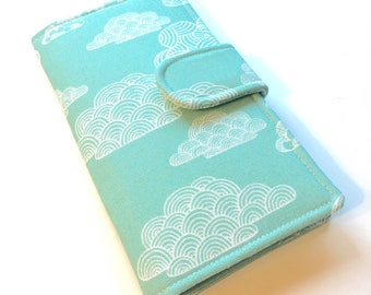 Womens Wallet, Organic Canvas Fabric Clutch , Aqua Clouds