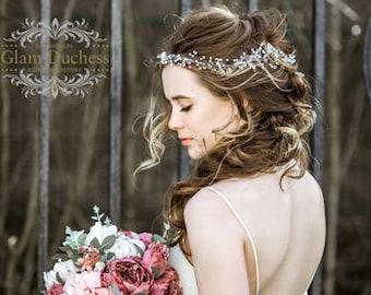 Bridal hair vine, wedding wreath, Wedding hair vine, Bridal headband, pearl crystal hair jewelry, pearl headband, wedding hair accessory