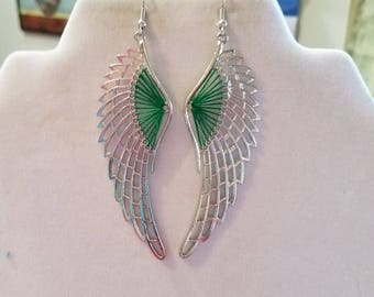 NEW Steampunk Edgy Green and Silver Tone Metal Angel Wing Thread Earrings Southwestern, Boho, Hippie Mystikal, great gift, Ready to Ship