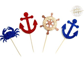 Nautical cupcake toppers, crab, anchor, ship wheel, glitter, Sets of 12