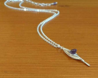 Silver-plated Wirewoven and Amethyst Chip Herringbone Petite Pendant