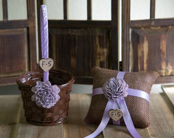Personalized Small Brown or white Flower Girl Basket and Ring Bearer Pillow SET You Pick Flower and Ribbon