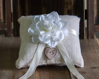Ivory Ring Bearer Burlap Pillow with a White Flower. Other color selections are also available
