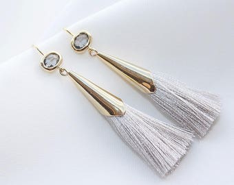 Crystal and colorful tassel earrings