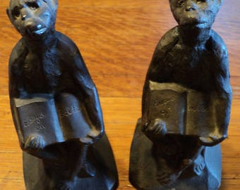 "SUMMER SALE 40% OFF! Historical Cast Iron Monkey Bookends Holding ""Essays on Evolution"" - Howe Foundry Chicago"