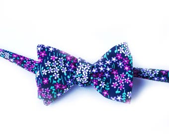 Midnight Floral Bow Tie