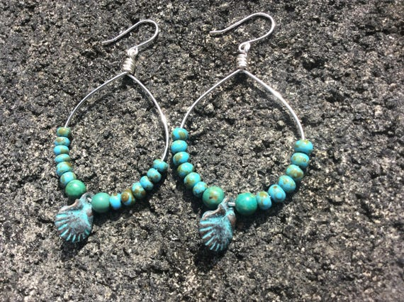 Turquoise Amber, Green Patina Scallop Shell, Silver Plated Hoops