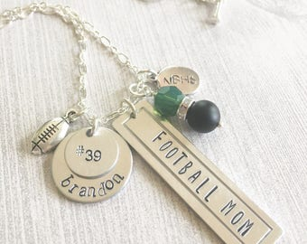 Personalized Sports Mom 2 Necklace Hand Stamped School Spirit Football Basketball Volleyball Baseball Soccer Cheerleading Track X