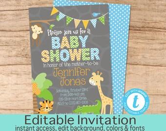 Jungle baby shower invitation kit, Jungle Invitation, Neutral Jungle Baby Shower Invitation, Editable Invitation, Templett, Instant Download