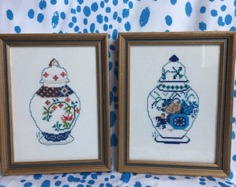 Pair of Ginger Jar Framed Needlepoints