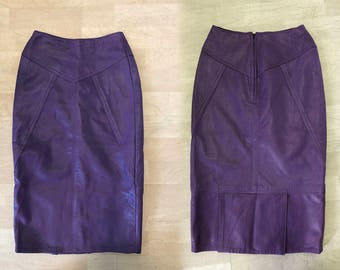 Vintage 80 Purple Leather Skirt 1980s New Wave Punk Rock Rocker Super Skinny Lambskin Leather High Quality Pencil Skirt Size Extra Small XS