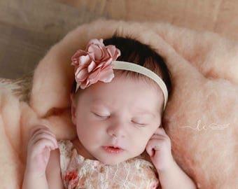 "Blush 2.5"" Satin Flower 3/8 inch Ivory Elastic Headband, photo shoots, newborn, bebe foto, infant hairband by Lil Miss Sweet Pea"