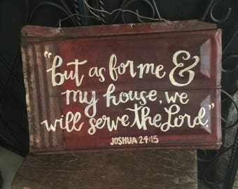 Reclaimed Vintage Ceiling Tile Tin Trim Molding Original Patina Red Shabby Paint Hand Calligraphy Joshua Bible Verse Wall Decor