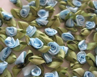 36 pieces Tiny BLUE Ribbon Rose Bud Appliqués with Green leaves for Crafting, Sewing, Baby, Doll Clothes, Embellishment - 1/2 inch/ 15 mm
