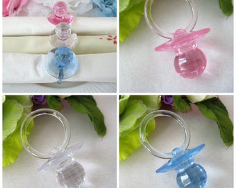 "60 Baby Shower Pacifiers, Diamond Cut, Clear, Pink, Blue for Games, Necklaces Favors, Napkin Holder, 2.5"" H x 1.5"" W, via Priority Mail"