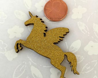 "Wood Golden Glitter Unicorn for Baby Shower, Party Favors, Cup Cake Topper, Magical Unicorn Themed, Centerpiece, 2.25"" W x 1.5"" H, 25 pieces"