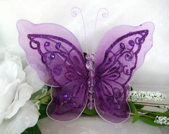 "7"" Purple Nylon Butterflies 2 layered for Baby Shower, Sweet 16, Quinceanera, Wedding, Flower Arrangement, Birthday Party, 1 or 3 piece"