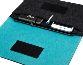 iPad Pro Sleeve / iPad Case / iPad Cover / iPad Organizer - Dark Gray & Turquoise  - Weird.Old.Snail