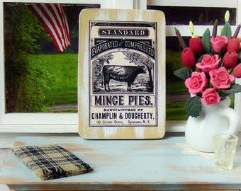 """Miniature Wooden sign 1:12 scale, """"Mince Pies"""" Vintage style"""
