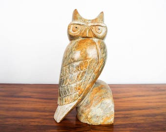 Vintage Marble Perched Signed Horned Owl Figurine, Unique Bird Decor Bathroom Ideas, One of a Kind Kitchen Recipe Book Bookend Book End