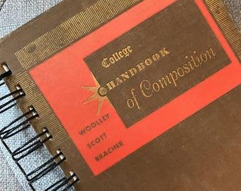 "Journal, Vintage Book, ""College Handbook of Composition"", Spiral Bound Journal, Old Book Journal, Brown, taupe,"