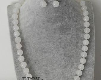 jade set- 12 mm white jade necklace stretch bracelet & earrings set
