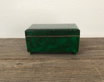 Vintage faux green malachite music box