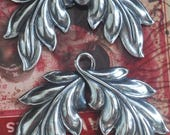 TWO Looped Brass leaves, earring components, Sterling Silver Finish