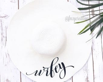 Wifey Hat | BRIDE Floppy Hat | Wifey Bride to be hat | Mrs. Floppy Hat | Floppy Sun Hat | Honeymoon Beach Hat | Beach Bride | Just Married