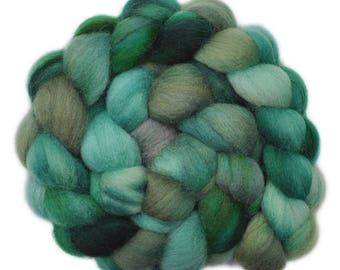 Handpainted roving - Corriedale Cross wool spinning fiber - 4.2 ounces -  Dim Forest 1