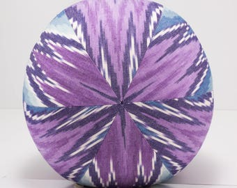 Cotton Throw Pillow Large- Purple and Blue Flamestitch Pillow Ball- Great for Dorm room decorating- by beckyzimmdesign